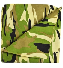 Olive Camouflage Cotton Pocket Square by Paul Malone
