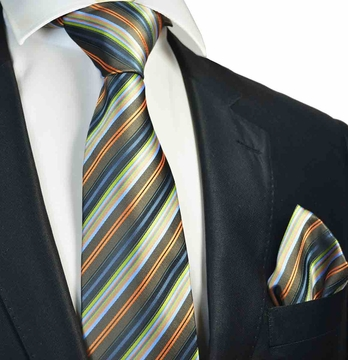 7a24f1c0ff62 Olive Green Striped Tie and Pocket Square Set