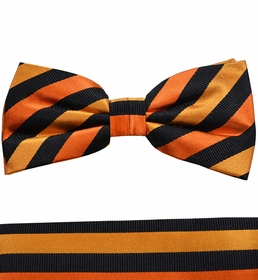 Orange and Black Bow Tie and Pocket Square Set by Paul Malone . 100% Silk (BT883H)