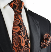 Orange and Black Paisley Silk Tie Set by Paul Malone