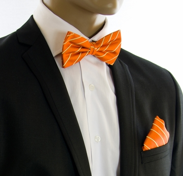 e3dcb26577ef Orange and Gold Bow Tie and Pocket Square by Paul Malone (BT884H)