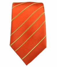 Orange and Gold Slim Silk Tie by Paul Malone