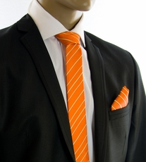 Orange and Gold SLIM Tie and Pocket Square by Paul Malone (Slim884H)