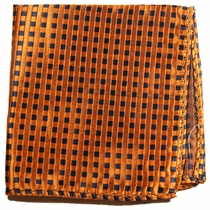 Orange and Navy Silk Pocket Square (H310)
