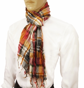 Orange and Red Men's Cotton Crinkle Scarf by Paul Malone