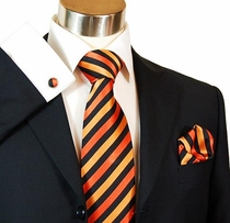 Orange & Black Paul Malone Silk Tie Set (883CH)