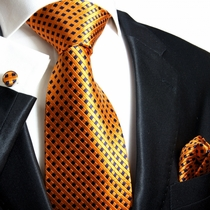 Orange & Navy Paul Malone Silk Tie Set (310CH)