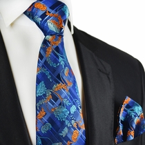 Orange on Blue Paul Malone Silk Tie and Pocket Square
