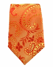 Orange Paisley Boys Tie by Paul Malone . 100% Silk