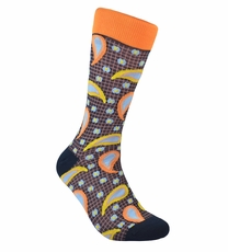 Orange Paisley Cotton Dress Socks by Paul Malone