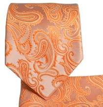 Orange Paisley Men's Tie and Pocket Square