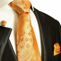 Orange Paisley Paul Malone Silk Necktie Set (916CH)