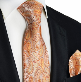 Orange Paisley Silk Tie and Pocket Square by Paul Malone
