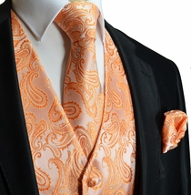Orange Paisley Tuxedo Vest Set
