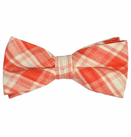 Orange Plaid Cotton Bow Tie by Paul Malone Red Line