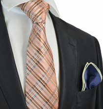 Orange Plaids Tie with Contrast Rolled Pocket Square Set