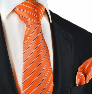 Orange Striped Silk Tie and Pocket Square by Paul Malone