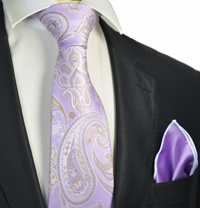 Orchid and Gold Paisley Tie with Contrast Rolled Pocket Square Set