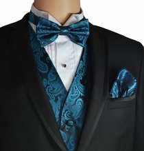 Pacific Blue Vest and Bow Tie Set by Paul Malone