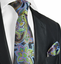 Blue, Green, Orange and Black Paisley Tie Set