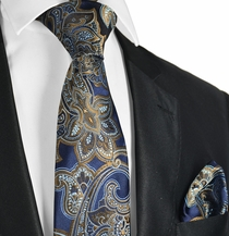 Navy and Bronze Paisley Necktie and Pocket Square Set