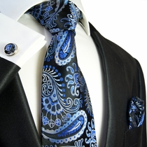 Paisley Necktie by Paul Malone . Blue and Black . 100% Silk (551CH)