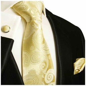 Paisley Paul Malone Necktie Set, Champagne