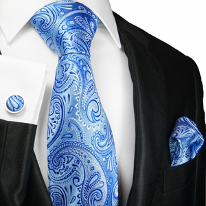 Palace Blue Paisley Silk Tie Set by Paul Malone