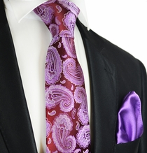 Dahlia on Burgundy Paul Malone 7-fold Tie and Pocket Square