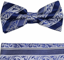 Paul Malone Bow Tie and Pocket Square . Blue and Navy . 100% Silk (BT855H)