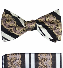 Paul Malone Bow Tie and Pocket Square Set . 100% Silk (BT516H)
