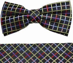 Paul Malone Bow Tie and Pocket Square Set . Black with Multi Colors . 100% Silk (BT853H)