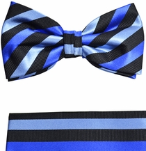 Paul Malone Bow Tie and Pocket Square Set . Blue and Black Striped . 100% Silk (BT881H)