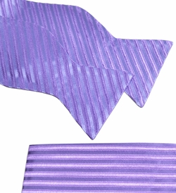 Paul Malone Bow Tie and Pocket Square Set . Lavender Stripes . 100% Silk (BT951H)