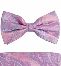 Paul Malone Bow Tie and Pocket Square Set . Pink and Blue Paisley   . 100% Silk ( BT686H)