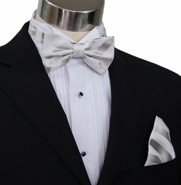 c9705f8716bc Paul Malone Bow Tie and Pocket Square Set . Silver-White . 100% Silk  (BT401H)