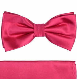 Paul Malone Bow Tie and Pocket Square Set . Solid Hot Pink . 100% Silk (BT505H)