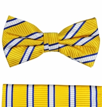 Paul Malone Bow Tie and Pocket Square Set . Yellow, Blue and White Stripes . 100% Silk (BT254H)