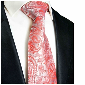 Paul Malone Designer Silk Tie, Red Paisleys (338)