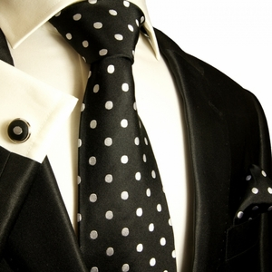 Paul Malone Necktie, Pocket Square and Cufflinks . 100% Silk . Black and Silver/White Polka Dots (992CH)