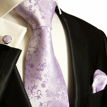 Paul Malone Necktie, Pocket Square and Cufflinks Set, Lavender Vines