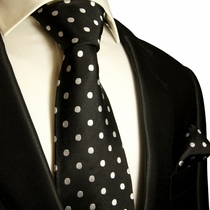 Paul Malone  Silk Tie and Pocket Square . 100% Silk . Black and Silver/White Dots (992H)