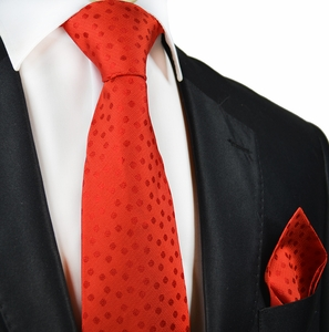 Paul Malone Silk Tie and Pocket Square . Red Polka Dots