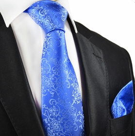 Paul Malone Silk Tie and Pocket Squares, Blue Vines