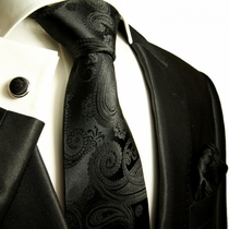 Paul Malone Silk Tie Set - Black Paisleys (815CH)