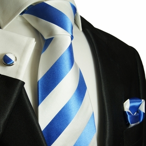 Paul Malone Silk Tie Set, Blue and White Stripes (413CH)
