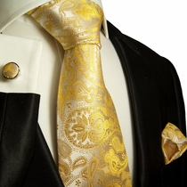 Paul Malone Silk Tie Set - Gold Paisleys (427CH)