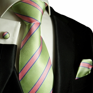 Paul Malone Silk Tie Set, Green and Salmon (844CH)