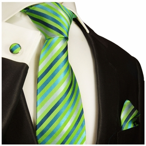 Paul Malone Silk Tie Set - Green & Blue (530CH)