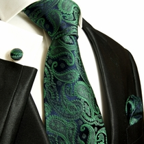 Paul Malone Silk Tie Set - Green on Navy (510CH)